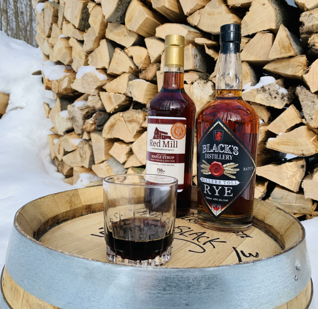 Red Mill Maple Syrup & Blacks Miller's Toll Rye on a barrel